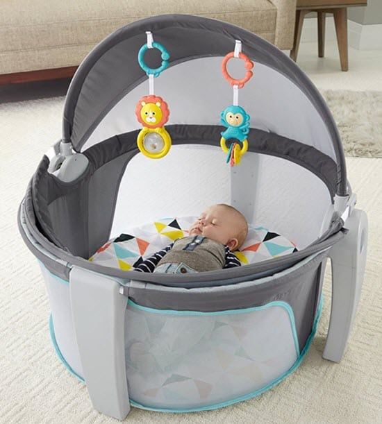 baby sleeping in Fisher-Price On-The-Go Baby Dome