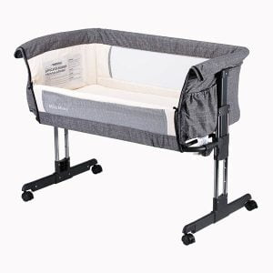 Mika Micky Bedside Sleeper Easy Folding Portable Crib,Grey