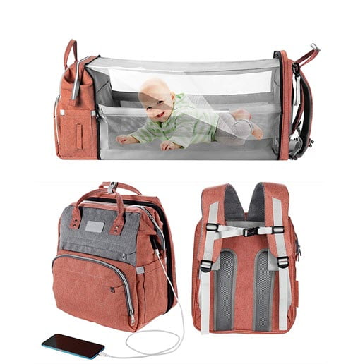 WBDRIM Diaper Bag Backpack With Mosquito Net
