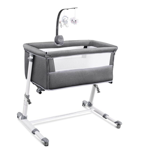 RONBEI Bedside Baby Bassinet With Mobile