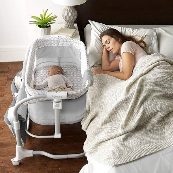 Bedside sleeping with ingenuity dream & grow bedside bassinet