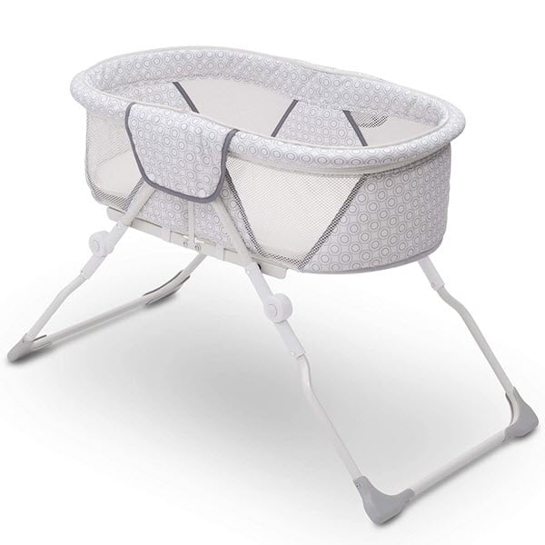 Delta Children EZ Fold Ultra Compact Travel Bedside Bassinet without canopy