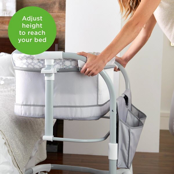 adjusting the height of the ingenuity dream & grow bedside bassinet