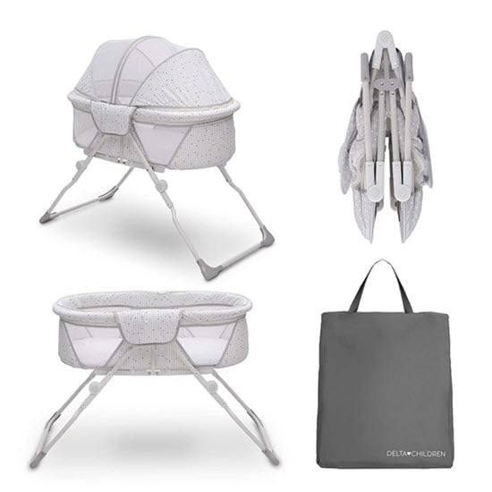 easy to fold and travel bassinet with bag