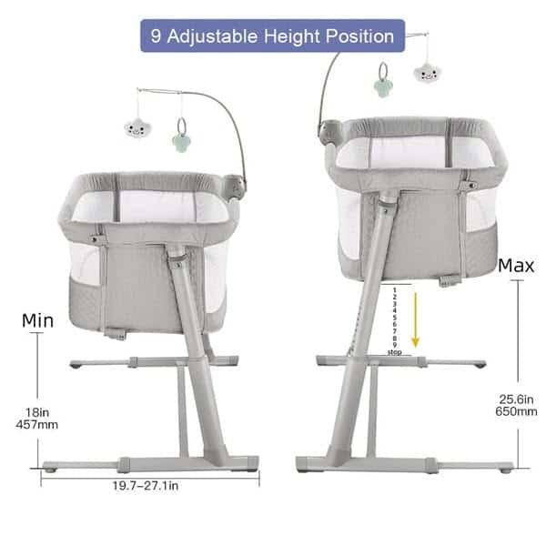 height adjustable setting of RONBEI Bedside Sleeper Baby Bed Bassinet