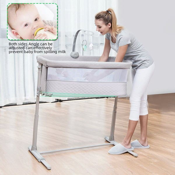 incline the RONBEI Bedside Sleeper Baby Bed Bassinet to reduce reflux