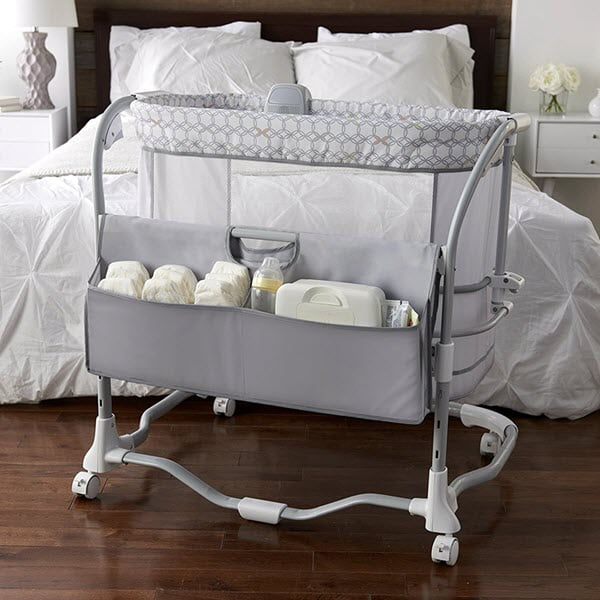 storage pocket on the side ingenuity dream & grow bedside bassinet