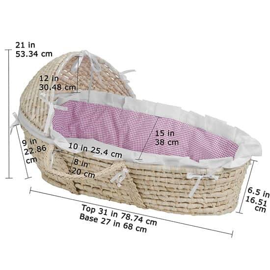 Hooded Baby Moses Basket bassinet dimension