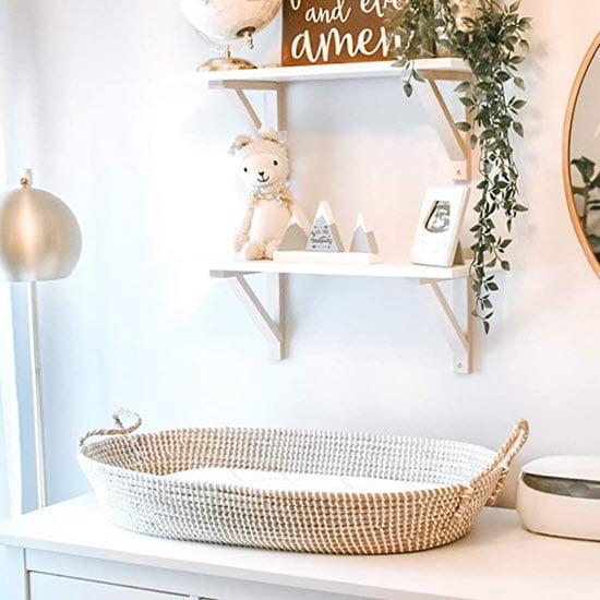 Linen Perch Moses basket bassinet for baby