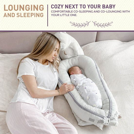 mom co sleeping with lalame organic bassinet and lounger
