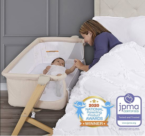 Evolur Stellar Bassinet and Bed Side Sleeper place near the bed