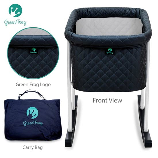 Front view of the Green Frog Baby Bassinet