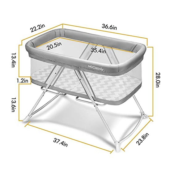 MiClassic 2in1 Stationary & Rocking Bassinet Dimensions
