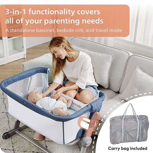 Unilove Hug Me Plus 3-in-1 Baby Bassinet with travel bag