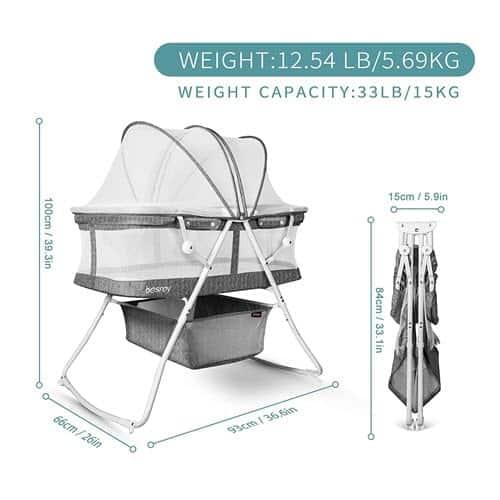 besrey Bassinet for Baby dimension & size