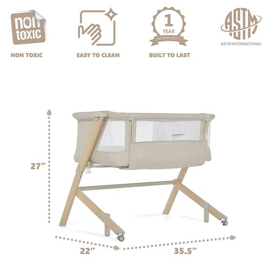 dimension of the Evolur Stellar Bassinet and Bed Side Sleeper