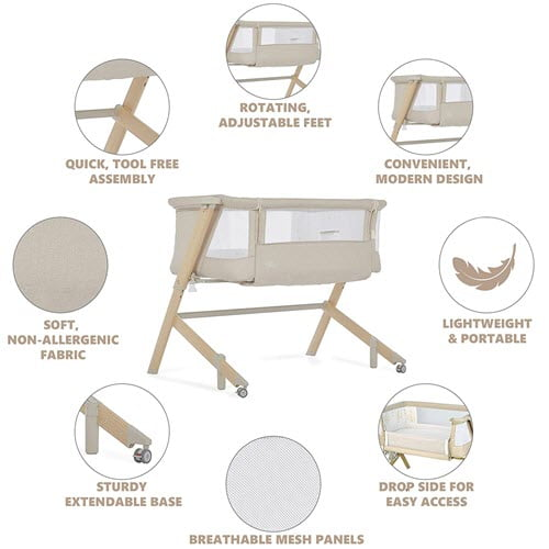 features of the Evolur Stellar Bassinet and Bed Side Sleeperfeatures of the Evolur Stellar Bassinet and Bed Side Sleeper