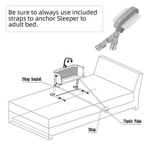 nylon strap of the Kidsclub Baby Bedside Sleeper bassinet