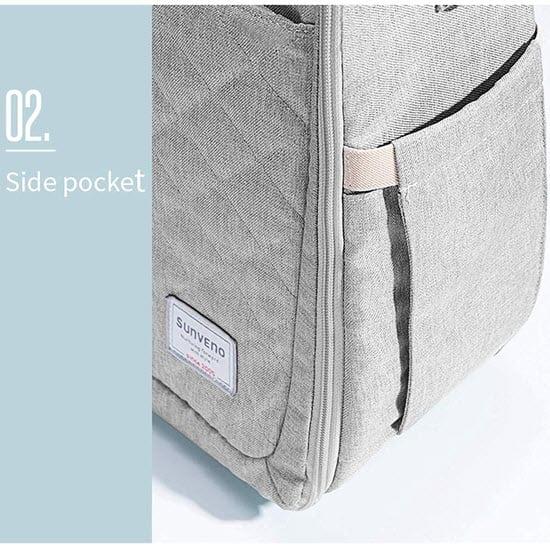 side pocket of the SUNVENO Infant Travel bassinet