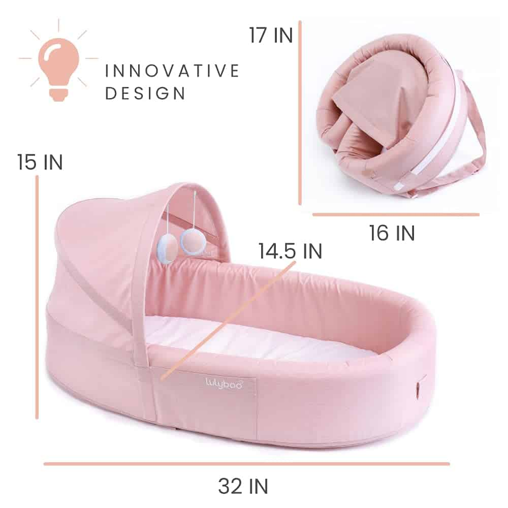 size of the Lulyboo Baby To Go Bassinet f